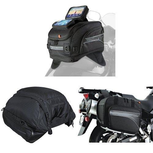 Nelson-Rigg CL-2020-MG Magnetic Mount Tank Bag  CL-3000 Black Highway Cargo Pack  and  CL-855 Black Touring Adventure Saddlebag Bundle