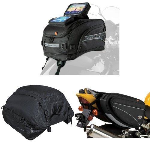 Nelson-Rigg CL-2020-ST Strap Mount Tank Bag  CL-3000 Black Highway Cargo Pack  and  CL-950 Black Deluxe Sport Touring Saddle Bag Bundle
