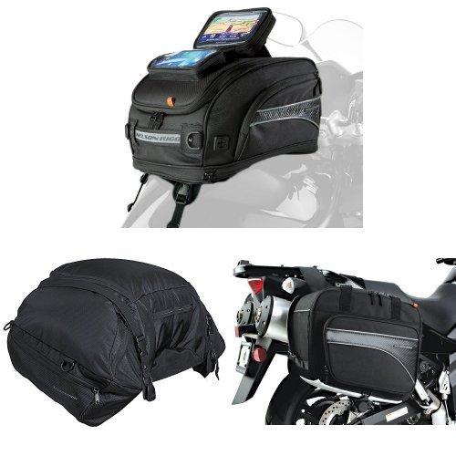 Nelson-Rigg CL-2020-ST Strap Mount Tank Bag  CL-3000 Black Highway Cargo Pack  and  CL-855 Black Touring Adventure Saddlebag Bundle