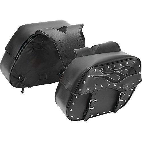 Diamond Plate 2pc Motorcycle Saddlebag Set with Flame Design