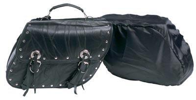 Diamond Plate 2pc Rock Design Genuine Buffalo Leather Motorcycle Saddlebag Set