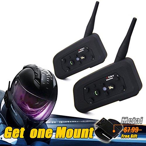 LEXINÂ Waterproof 1200 Meters Range 2x Interphone Bluetooth 2 Way Motorcycle Helmet Multi Intercom Headset 6 Riders and get a mount for free