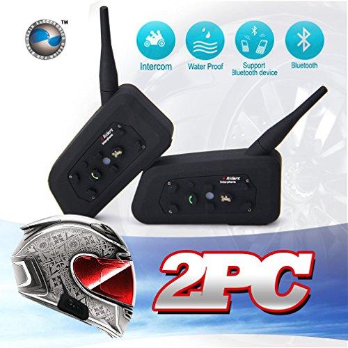 LEXIN Waterproof 1200 Meters Range 2x Interphone Bluetooth 2 Way Motorcycle Helmet Multi Intercom Headset 6 Riders