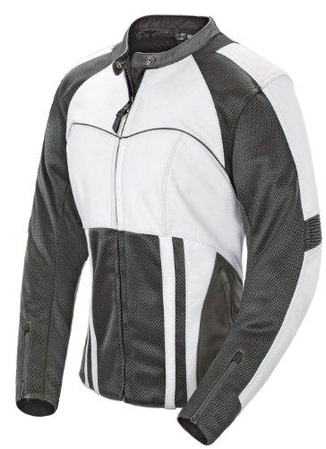 Joe Rocket Radar Women's Leather Motorcycle Riding Jacket (white/gunmetal, Medium)