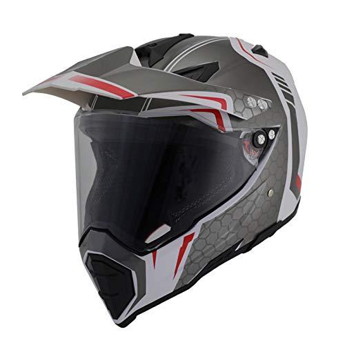 Woljay Dual Sport Off Road Motorcycle helmet Dirt Bike ATV DOT Certified - Visor Shield Clear M WhiteSilver