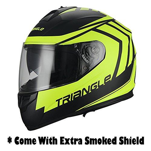 Full Face Matte BlackYellow  Arrow  Dual Visor Street Bike Motorcycle Helmet for Triangle DOT Small