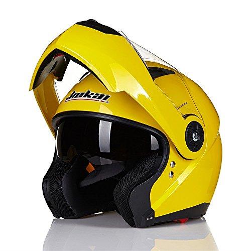 ILM 8 Colors Motorcycle Modular Flip up Dual Visor Helmet DOT XL Yellow