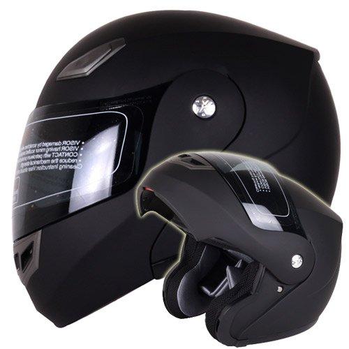 Matte Black Modular Flip up Helmet DOT 936 Large - Comes with FREE TINTED SHIELD