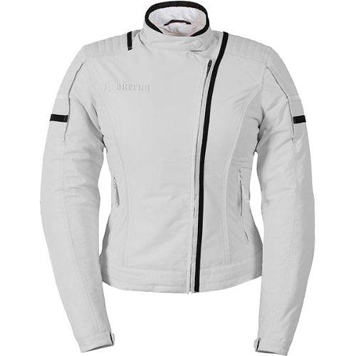 Pokerun Duchess Women's Textile Touring Motorcycle Jacket - White / Large