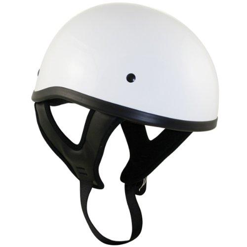 Outlaw T68 DOT White Glossy Motorcycle Skull Cap Half Helmet - Large