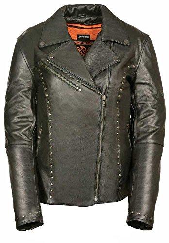 Milwaukee Womens Classic Motorcycle Leather Jacket Black XXX-Large