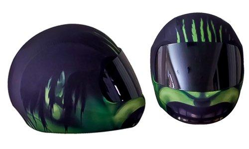 SkullSkins Aggressive Rider Motorcycle Helmet Street Skin Green