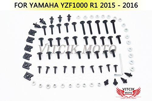 VITCIK Full Fairings Bolt Screw Kits for Yamaha YZF1000 R1 2015 2016 YZF 1000 R1 15 16 Motorcycle Fastener CNC Aluminium Clips Black Silver