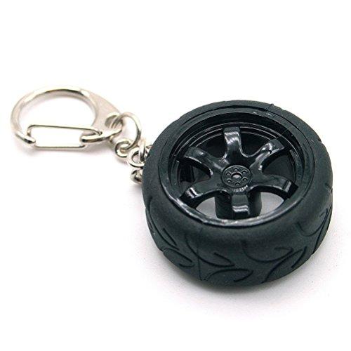 Waterwood Rays TE37 Style Concave Rim Wheel A050 Racing Tire Keychain-Black