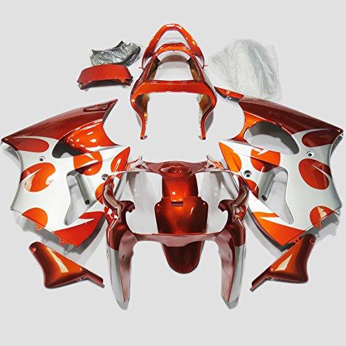 ABS Injection Molding - Orange White Fairing Kit for Kawasaki Ninja ZX-6R 636 2000 - 2002 and ZZR600 2005-2008