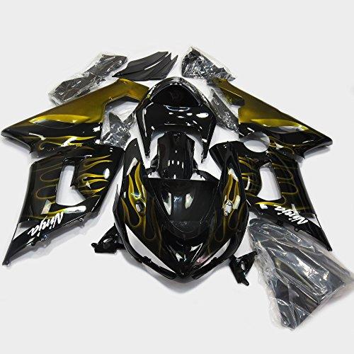 Gold Flame Painted Fairings Fits Motorcycle 2005 2006 Kawasaki Ninja ZX-6R 636