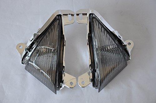 Topzone Moto Smoked Motorcycle Turn Signal Lights With Led For Kawasaki 05-10 Ninja Zx-6R636 06-07 Ninja Zx-10R 06-08 Ninja 650R 06-10 Ninja Zx-14 08-10 Concours Front
