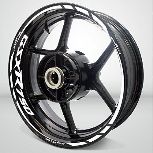 Suzuki GSXR 750 Gloss White Motorcycle Rim Wheel Decal Accessory Sticker