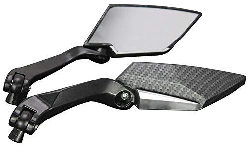 MotorToGo Black Carbon Mini Rearview Mirrors for 2007 Yamaha Virago 250 XV250
