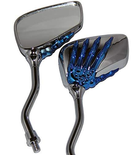MotorToGo Small Blue Skull Hand Rear View Mirrors for 2007 Yamaha Virago 250 XV250