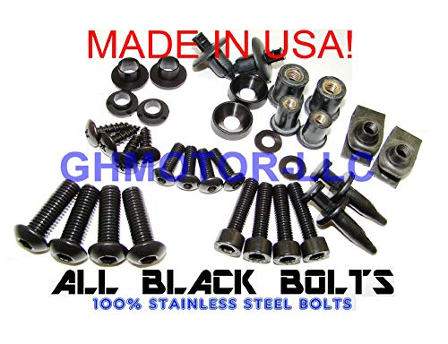 2006 2007 GSX-R GSXR 600 750 Complete Fairings Bolts Screws Fasteners Kit Set Made in USA Black
