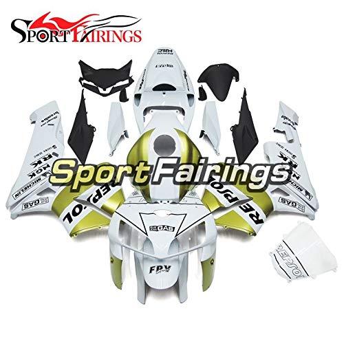 Sportbikefairings Motorcycle White Gold Injection ABS Fairing Kit For Honda CBR600RR CBR600 RR F5 Year 2005 2006 Bodywork