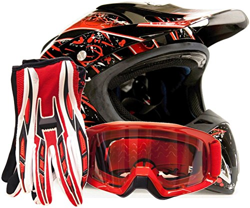 Adult Offroad Helmet Goggles Gloves Gear Combo DOT Motocross ATV Dirt Bike MX Black Red Splatter  Medium