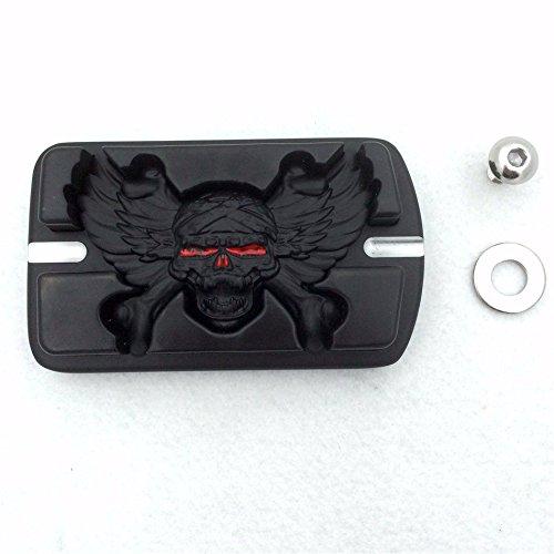 XKMT-Black Wing Skull Zombie Emblem Black Harley Davidson Touring Softail Brake Pedal Large Pad B01D0QZL2W
