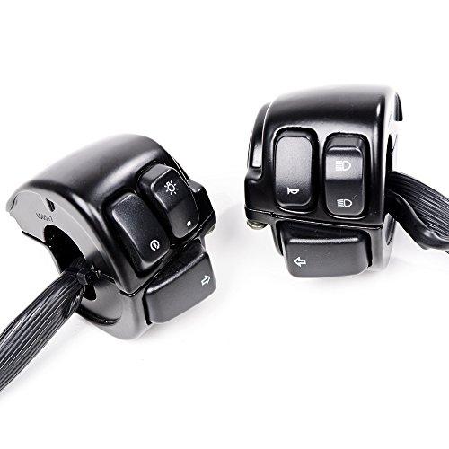 Black 1 Handlebar Headlamp Horn Turn Signal Light ONOFF Switch For 1996-2012 Harley Dyna Softail Sportster V-Rod