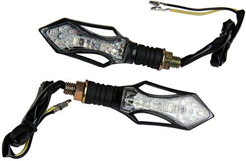 MotorToGo Clear Lens Black Arrow LED Turn Signals Lights Blinkers for 2002 Honda Shadow ACE 750 VT750CD Deluxe