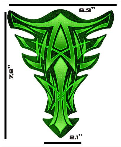 Size is 76 tall x 63 wide Pinstripe Green Kawasaki Ninja Suzuki GSXR Honda CBR Yamaha YZF Motorcycle TanK pad Gel Decal