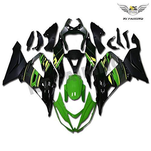 Plastic Green Black Bodywork Fairing Fit for Kawasaki Ninja 2013 2014 2015 2016 2017 2018 ZX6R 636 ZX-6R Injection Mold ABS New Aftermarket Bodyframe Kit Set 13 14 15 16 17 18