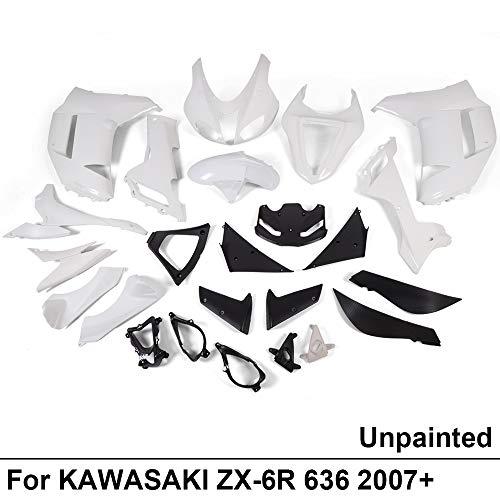 White Unpainted ABS Plastic Fairing Cowl Bodywork Set For KAWASAKI Ninja ZX6R ZX-6R ZX 6R 636 2007 2008