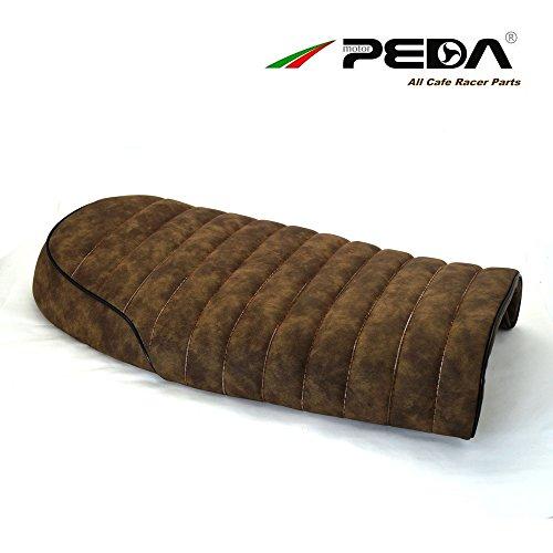 PEDA Motorcycle Seat Cafe Racer Brat Saddle For Honda Yamaha Vintage Retro Seats Synthetic Leather Flower Brown