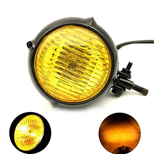 MotoFans H4 35W HiLow bulb Vintage Antique Style Motorcycle Headlight Retro Cafe Racer Bobber Chopper Cruiser Large Bullet