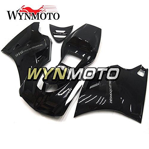 WYNMOTO ABS Injection Plastic Motorcycle Fairing Kit For 996 748 916 998 Monoposto Single Seat 96 97 98 99 00 01 02 1996 - 2002 Gloss Black Sportbike Bodywork