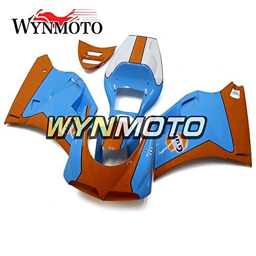 WYNMOTO ABS Injection Plastic Motorcycle Fairing Kit For 996 748 916 998 Monoposto Single Seat 96 97 98 99 00 01 02 1996 - 2002 Orange Light Blue Sportbike Bodywork
