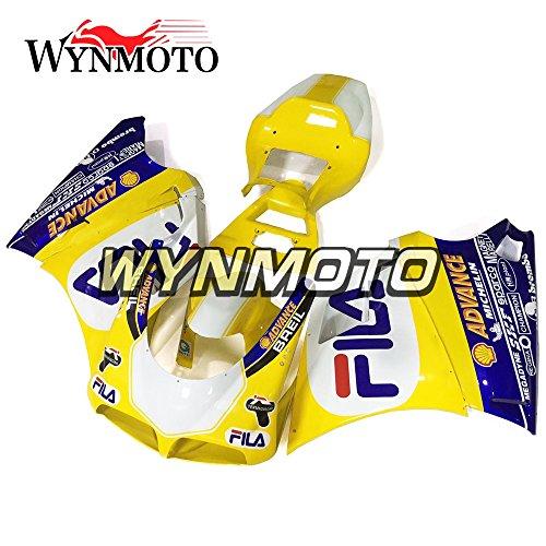 WYNMOTO ABS Injection Plastic Yellow White Motorcycle Fairing Kit For 996 748 916 998 Monoposto Single Seat 96 97 98 99 00 01 02 1996 - 2002 Sportbike Bodywork