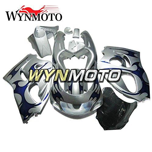 WYNMOTO Motorcycle Fairing Kit For Suzuki GSX-R 600-750 GSXR600 GSXR750 1996 1997 1998 1999 Sliver Blue Flame ABS Plastic Sportbike Bodywork