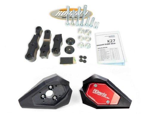Honda VFR 800 2002-2013 RD Moto Crash Frame Sliders Protectors With Full Mounting Kit SL01 BlkRed