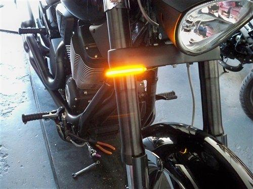 Victory Vegas Jackpot Models Razor 43mm Fork LED Turn Signal Light Bars - Smoked Lens