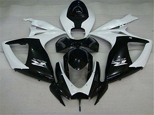 2006 2007 Injection Fairing for SUZUKI GSXR600750 Glossy White Black Plastic Kit