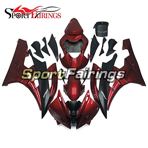 Sportfairings Injection Plastic ABS Fairing Kits For Yamaha YZF R6 2006 2007 Year 06 07 Motorcycle Body Kits Black Dark Red Cowlings