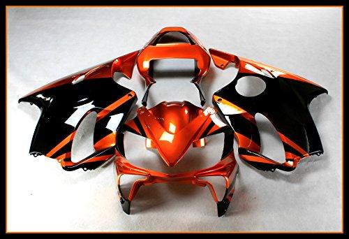 Protek ABS Plastic Injection Mold Full Fairings Set Bodywork With Heat Shield Windscreen for 2001 2002 2003 Honda CBR600 F4i Orange Black