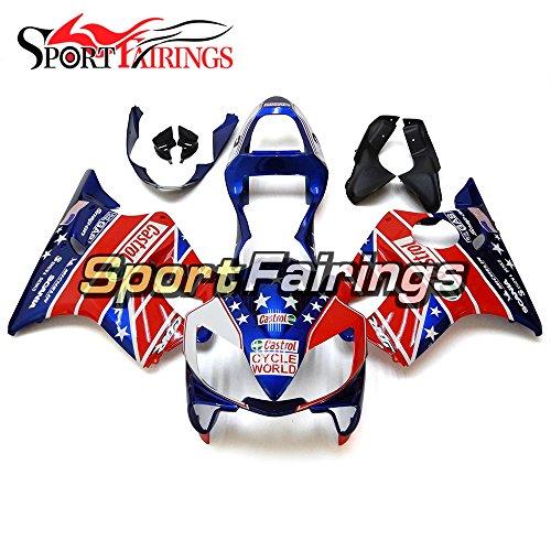 Sportfairings Complete Injection ABS Plastic Fairing Kit For Honda CBR600 F4i 01-03 Year 2001 2002 2003 USA Flag Blue Sportbike