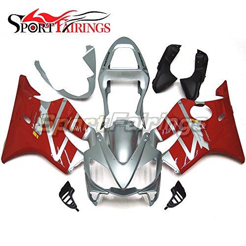 Sportfairings Motorbike Silver Red Injection ABS Plastic Full Fairing Kit For Honda CBR600 F4i 2001 2002 2003 Sportbike Cowlings