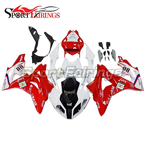 Sportfairings Injection White Red 88 ABS Motorcycle Fairing Kits For BMW S1000RR Year 2011 - 2014 Fairings