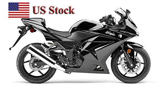 US STOCK Gloss Black Fairing Bodywork ABS Injection Molding Kit for 2008-2012 Kawasaki Ninja 250R EX250 2009 2010 2011