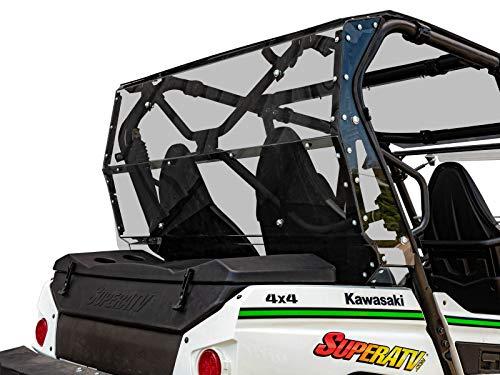 SuperATV Heavy Duty Rear Windshield for Kawasaki Teryx 4 800 2014 - Easy Install