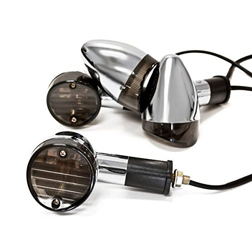 Krator Motorcycle 4 pcs Smoke Bullet Turn Signals Lights For Kawasaki VN Vulcan Classic Drifter 800
